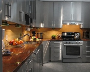 Stainless-Steel-with-Granite-Countertops-Kitchen-Cabinets-550x443